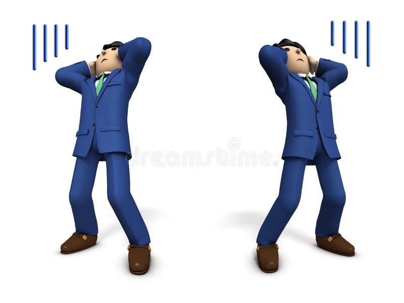 Geschäftsleute halten einen Kopf mit Schock vektor abbildung