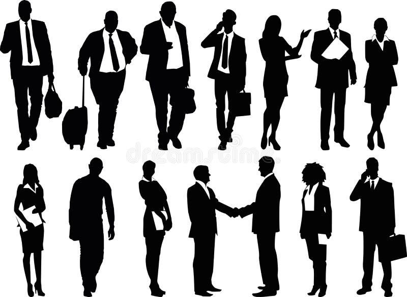 Geschäftsleute Illustrations-, Mann- und Frauenvektor eingestellt - lizenzfreie abbildung