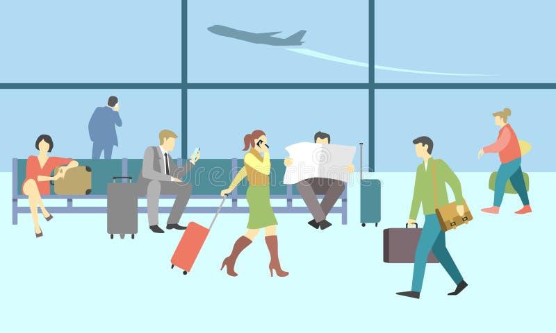 Geschäftsleute im Flughafenabfertigungsgebäude Vektorreise stock abbildung