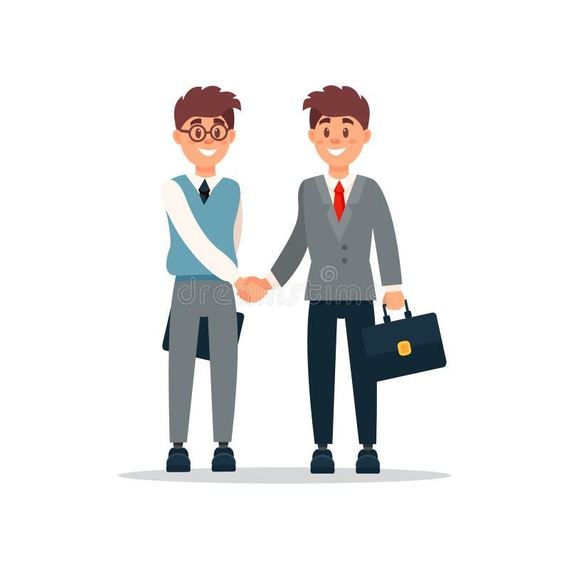 Geschäftsleute Kooperationsabkommen, Händedruck von zwei Geschäftsmännern, produktive Partnerschaftskarikatur-Vektor Illustration stock abbildung