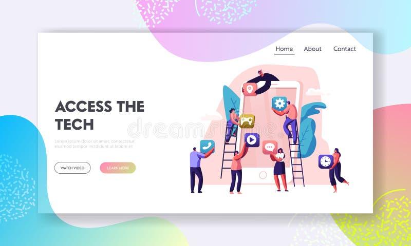 Geschäftsleute kreative Team Putting App Icons auf enormem Smartphone-Schirm Designer entwickeln Anwendung für Mobile stock abbildung