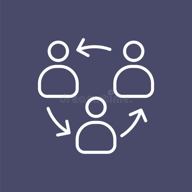 Geschäftsleute Linie flache Illustration der Organisationsstrukturikone der einfachen stock abbildung