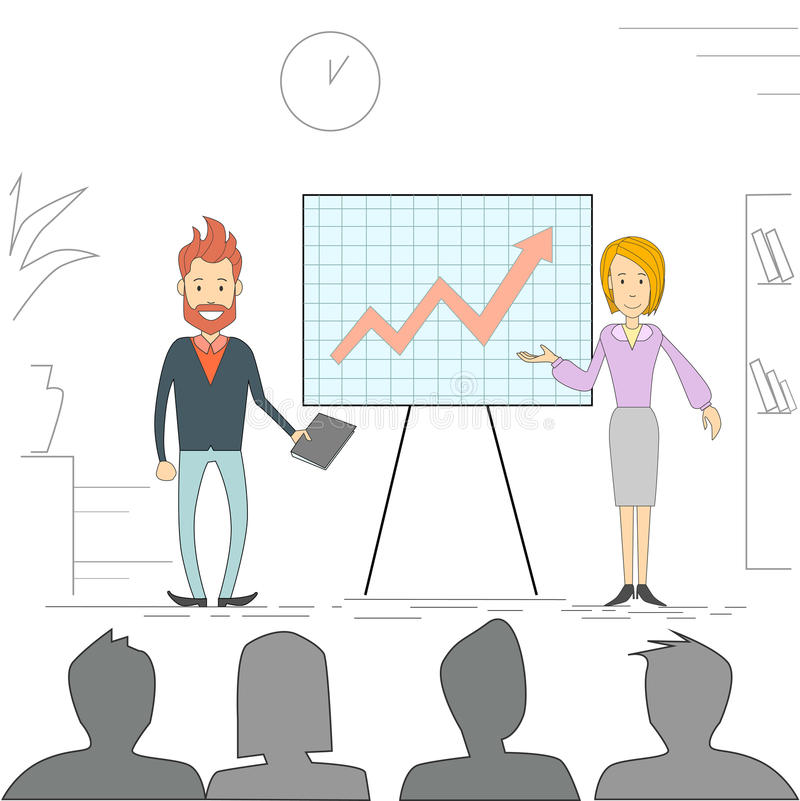 Geschäftsleute Mann-Frauen-Sitzungs-Seminar-Trainings-Konferenz-Wirtschaftler-Gruppen-Brainstorming-Darstellungs-finanziell lizenzfreie abbildung