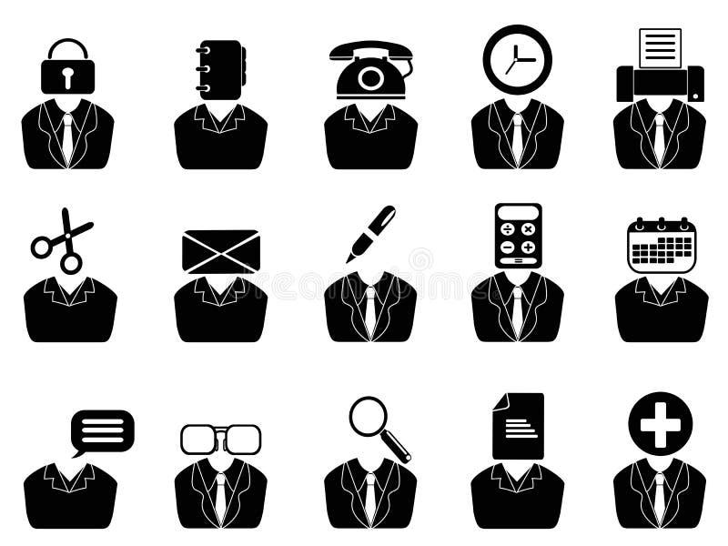 Geschäftsleute mit den Bürowerkzeugikonen eingestellt lizenzfreie abbildung