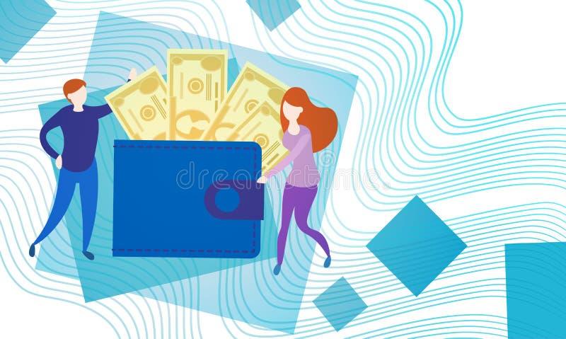 Geschäftsleute mit voller Geldbörsen-Geld-Währung Rich Businesspeople Finance Success vektor abbildung