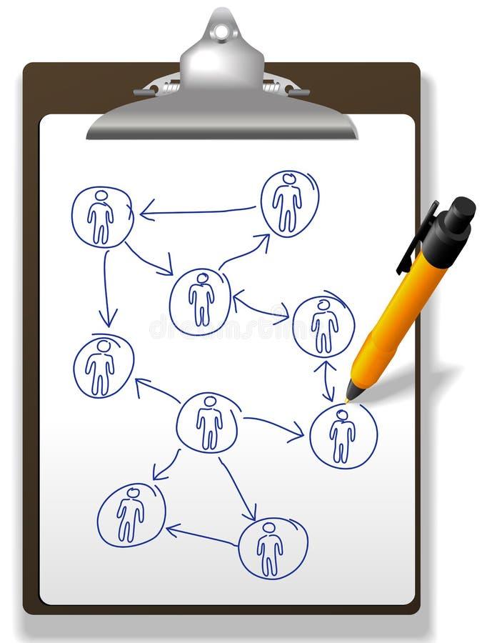 Geschäftsleute Plannetzdiagramm-Klemmbrettfeder lizenzfreie abbildung
