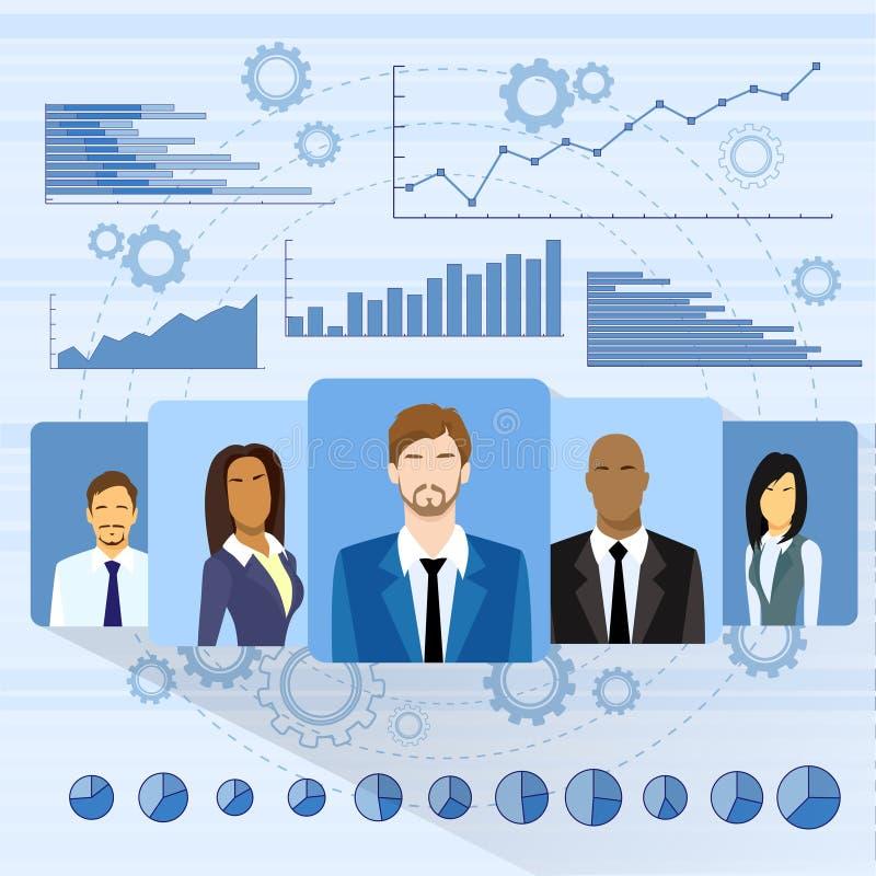Geschäftsleute Profil-Ikonen-über Diagramm-Satz vektor abbildung
