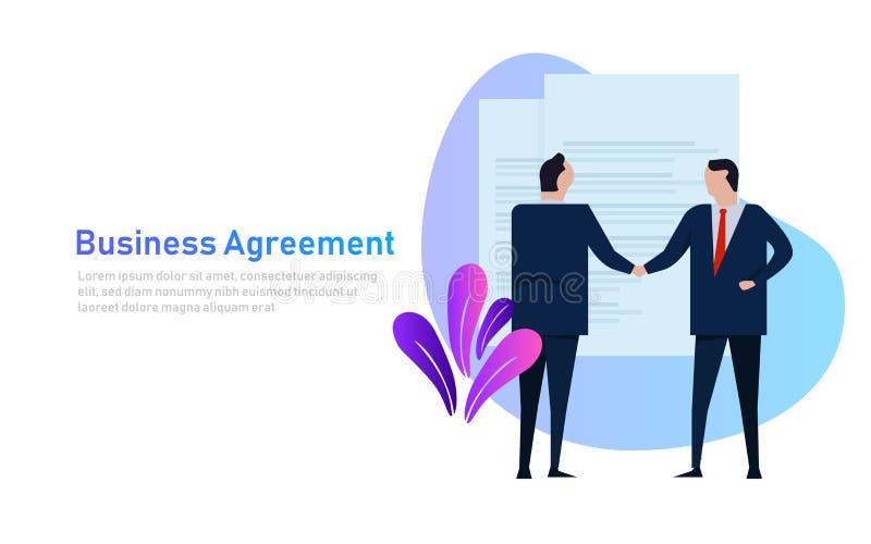 Geschäftsleute Reihe des stehenden Händedrucks der Vereinbarung tragende formal Konzeptvektor-Fahnenart vektor abbildung