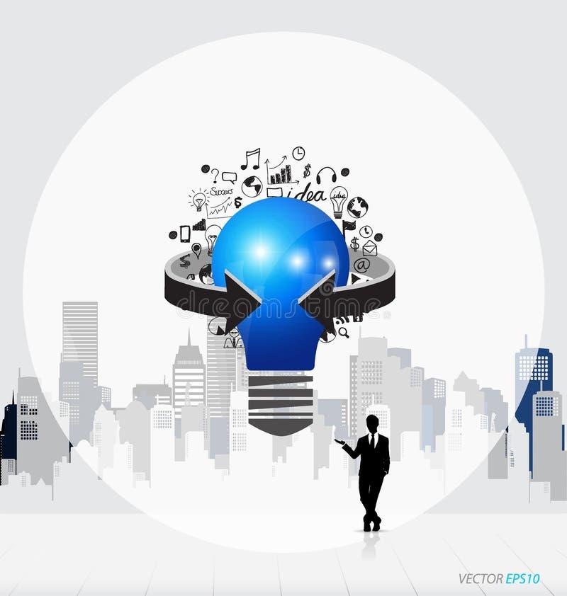 Geschäftsleute Schattenbilder und Glühlampe als Inspiration concep vektor abbildung