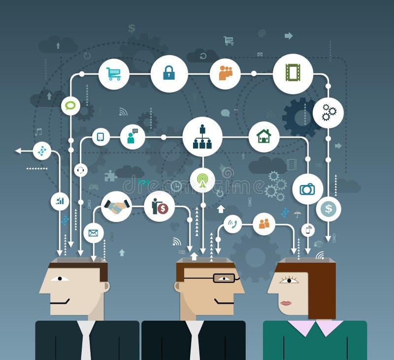 Geschäftsleute schließen an Soziales Netz an stock abbildung