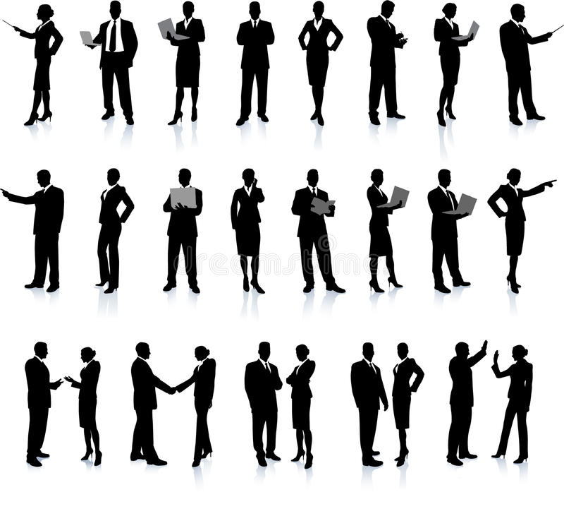 Geschäftsleute silhouettieren Superset lizenzfreie abbildung