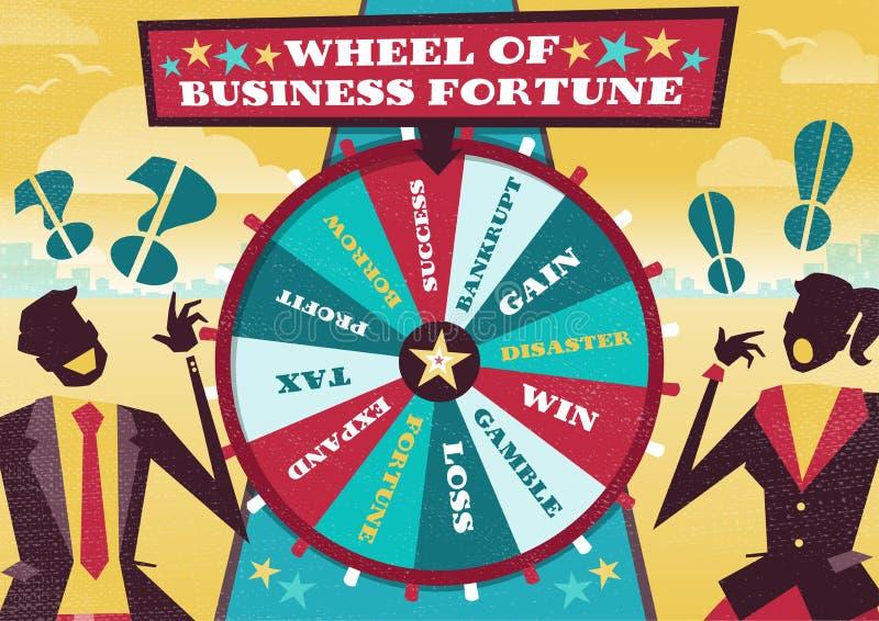Geschäftsleute spielen das Geschäfts-Glücksrad lizenzfreie abbildung