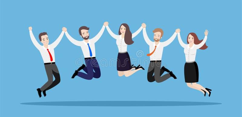 Gesch?ftsleute springen zusammen, H?ndchenhalten Illustration eines Teams der gl?cklichen Arbeitskr?fte auf einem blauen Hintergr lizenzfreie abbildung