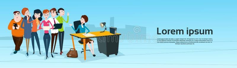 Geschäftsleute Team Boss Businesswoman Manager Sit-Teamwork- lizenzfreie abbildung
