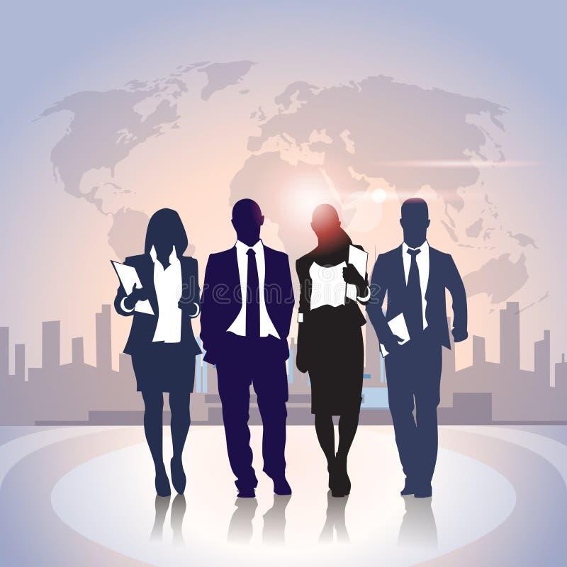 Geschäftsleute Team Crowd Black Silhouette Businesspeople-Gruppen-über Weltkarte-Stadt-Hintergrund stock abbildung