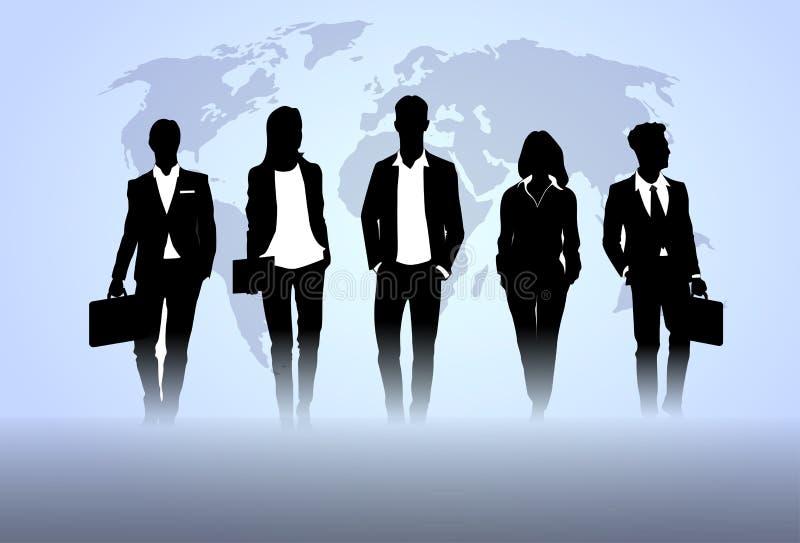Geschäftsleute Team Crowd Black Silhouette Businesspeople-Gruppen-Personalwesen-über Weltkarte-Hintergrund vektor abbildung