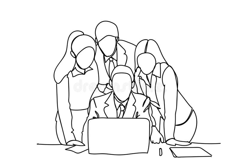 Geschäftsleute Team Looking At Laptop Computer-Diskussions-oder -Sitzung- über Brainstorminggekritzel vektor abbildung