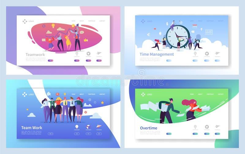 Geschäftsleute Teamwork-Landungs-Seiten-Satz- Kreativer Unternehmens-Team Collaboration Work für Innovations-Zeit-Management vektor abbildung