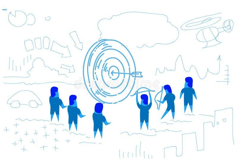 Geschäftsleute um den Pfeil, der Zielmitte von den Dartscheibeerfolgskonzept-Geschäftsleuten gedanklich lösen Skizze schlägt, kri vektor abbildung