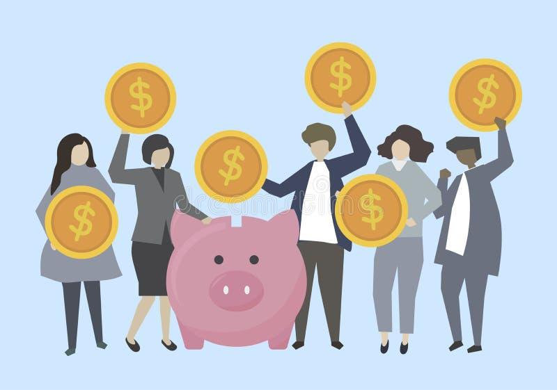 Geschäftsleute und Banker mit Geldillustration vektor abbildung