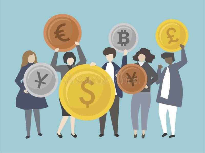 Geschäftsleute und Banker mit Geldillustration lizenzfreie abbildung