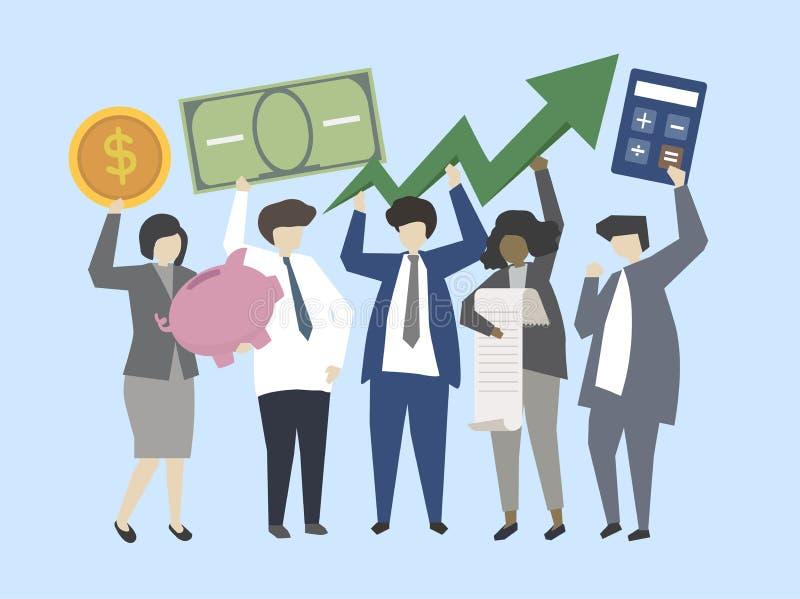 Geschäftsleute und Banker mit Geldillustration stock abbildung