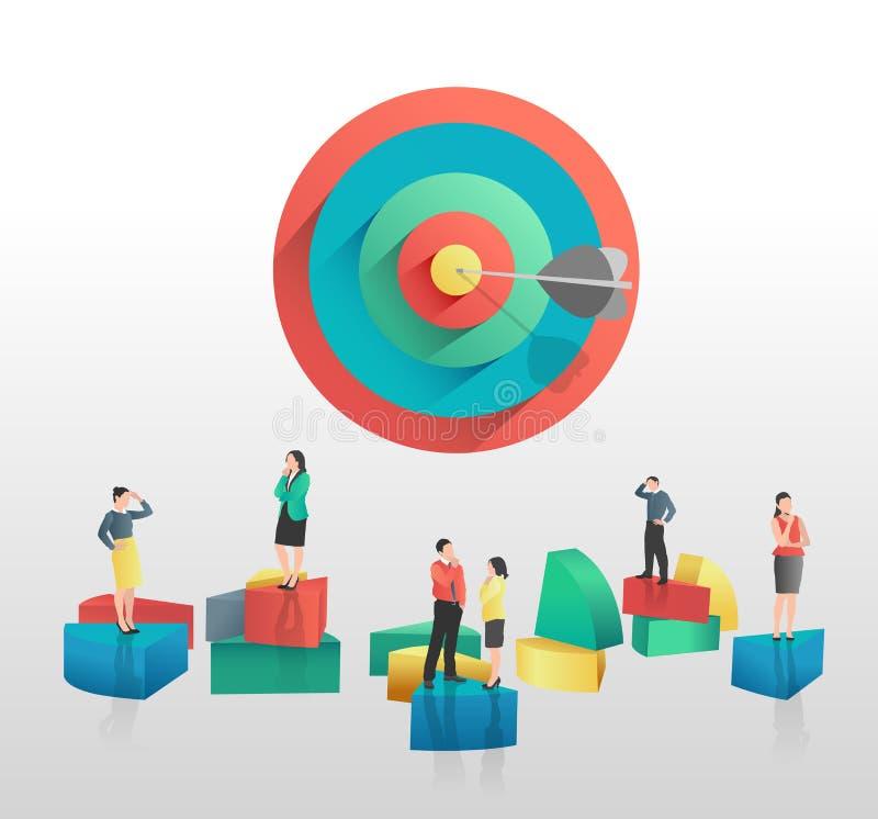 Geschäftsleute und bunte Kreisdiagrammsegmente und -ziel lizenzfreie abbildung