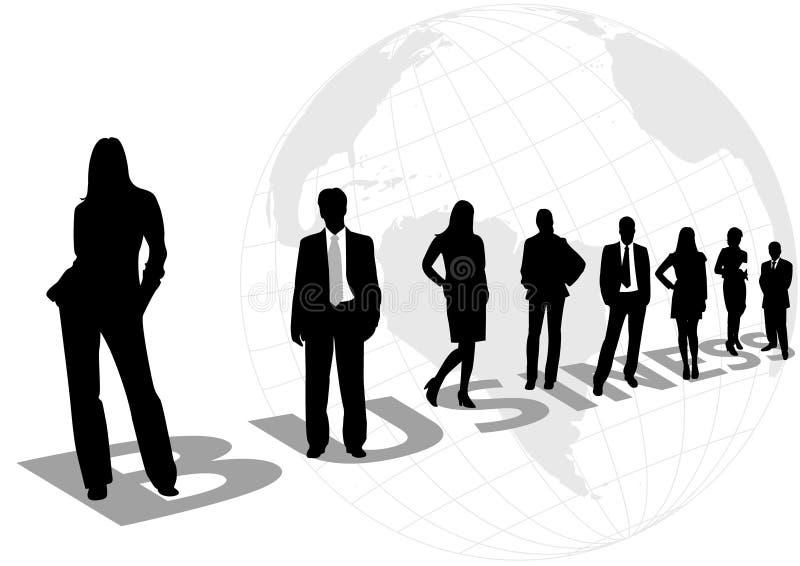 Geschäftsleute und Frauen, mit Welt stock abbildung