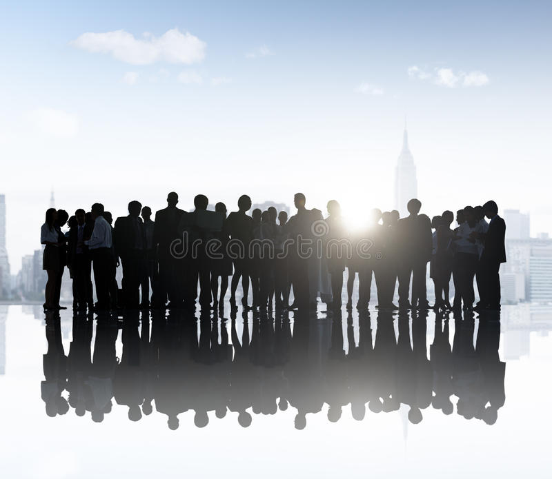 Geschäftsleute Unternehmens-Team Group City Communication Concept lizenzfreie stockfotografie
