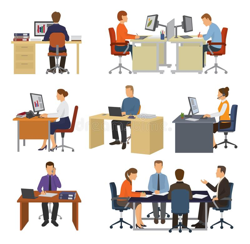 Geschäftsleute vector die Berufsarbeitskräfte, die bei Tisch mit Laptop oder Computer im Büroillustrationssatz von sitzen vektor abbildung
