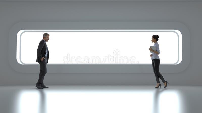 Geschäftsleute vor einem breiten Fenster vektor abbildung