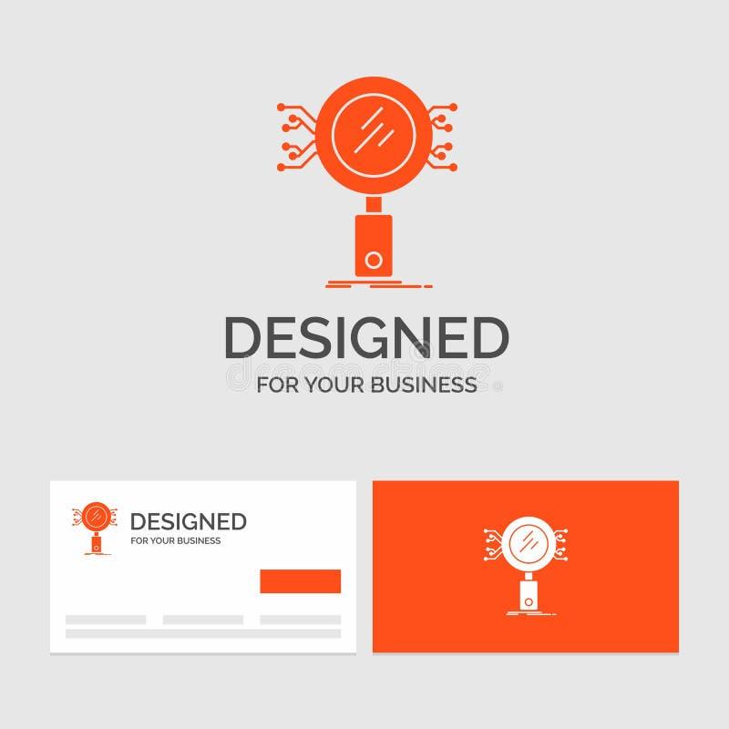 Geschäftslogoschablone für Analyse, Suche, Informationen, Forschung, Sicherheit Orange Visitenkarten mit Markenlogoschablone vektor abbildung