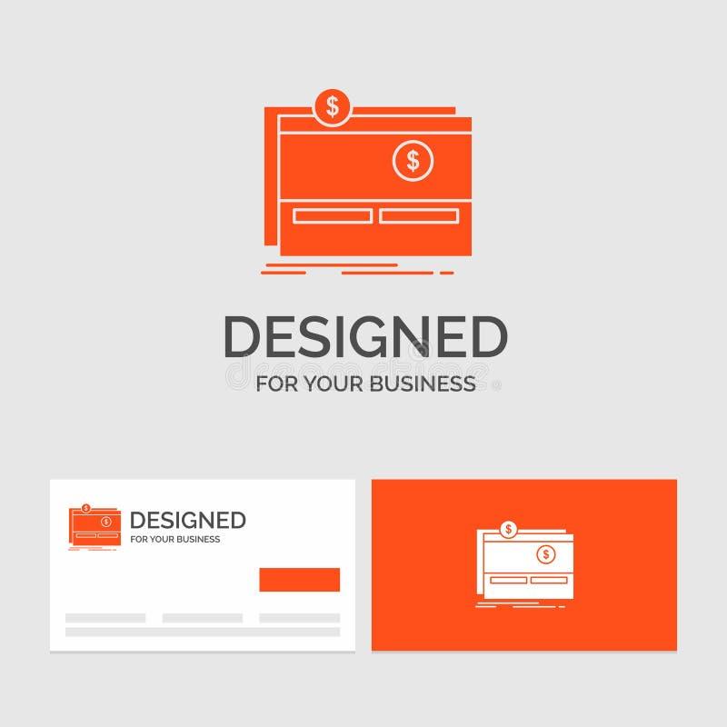 Geschäftslogoschablone für Crowdfunding, Finanzierung, beschaffend, Plattform, Website Mittel Orange Visitenkarten mit Markenlogo vektor abbildung