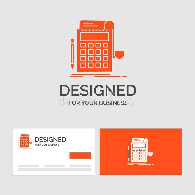 Geschäftslogoschablone für das Erklären, Rechnungsprüfung, Bankwesen, Berechnung, Taschenrechner Orange Visitenkarten mit Markenl vektor abbildung