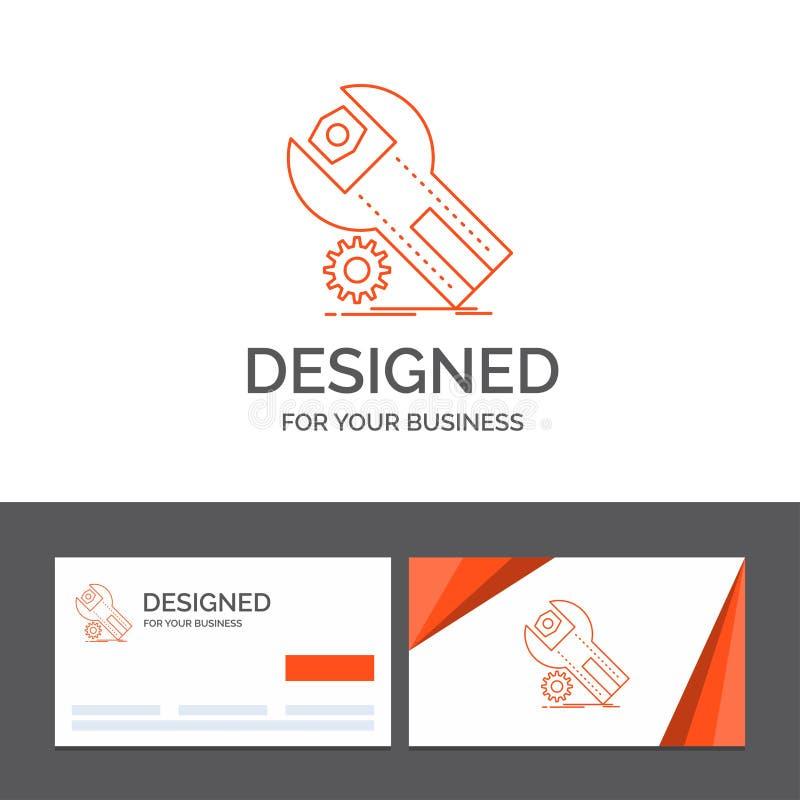 Geschäftslogoschablone für Einstellungen, App, Installation, Wartung, Service Orange Visitenkarten mit Markenlogoschablone stock abbildung