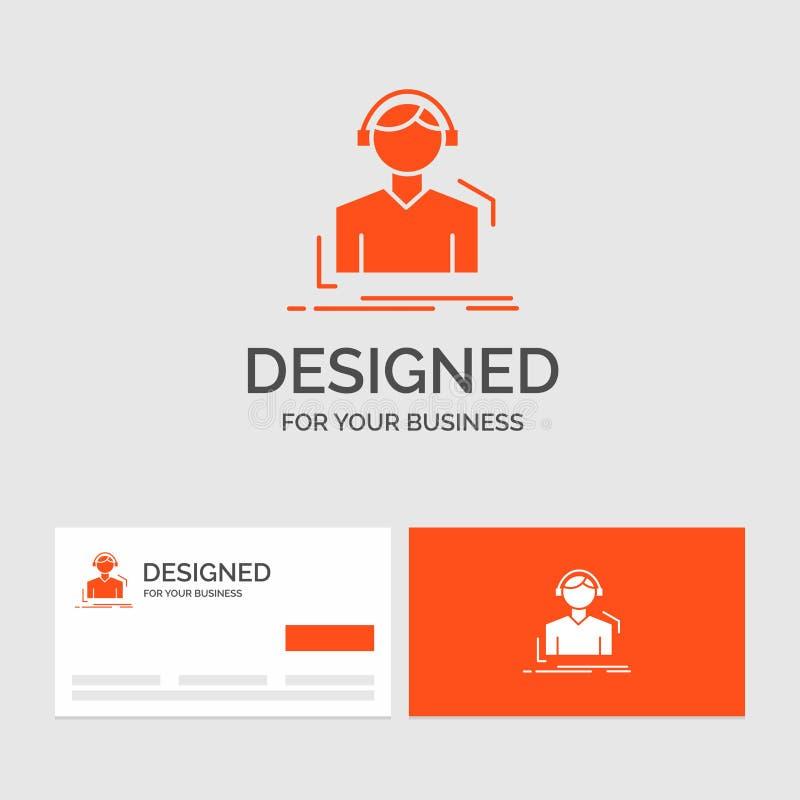 Geschäftslogoschablone für Ingenieur, Kopfhörer, hören, meloman, Musik Orange Visitenkarten mit Markenlogoschablone lizenzfreie abbildung