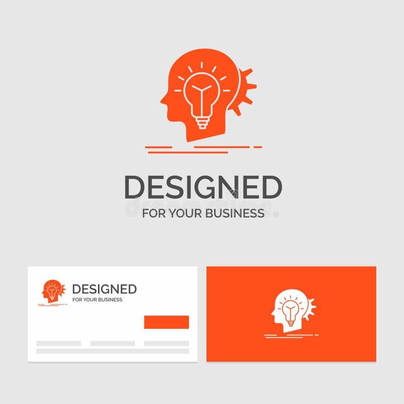 Geschäftslogoschablone für kreatives, Kreativität, Kopf, Idee, denkend Orange Visitenkarten mit Markenlogoschablone stock abbildung