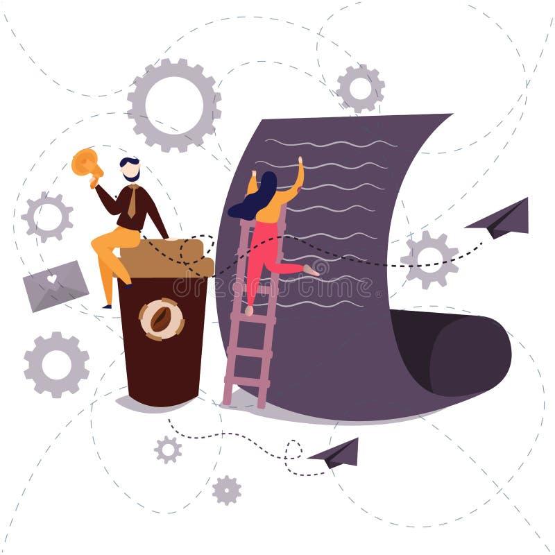 Geschäftslokal-Arbeitskraftschreiben auf großem Papier mit einer hohen Kaffeetasse Zusammenarbeitsarbeit lizenzfreie abbildung