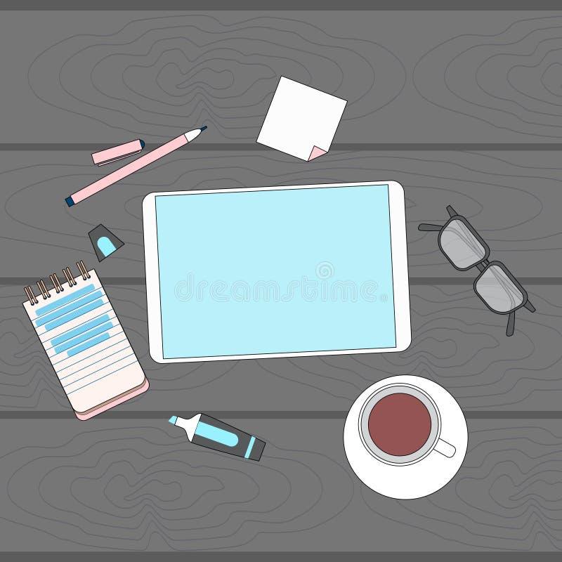 Geschäftslokal-Arbeitsplatz-Schreibtisch-Tablet-Computer-leerer Schirm-Kopien-Raum-Spitzenwinkel über Ansicht vektor abbildung