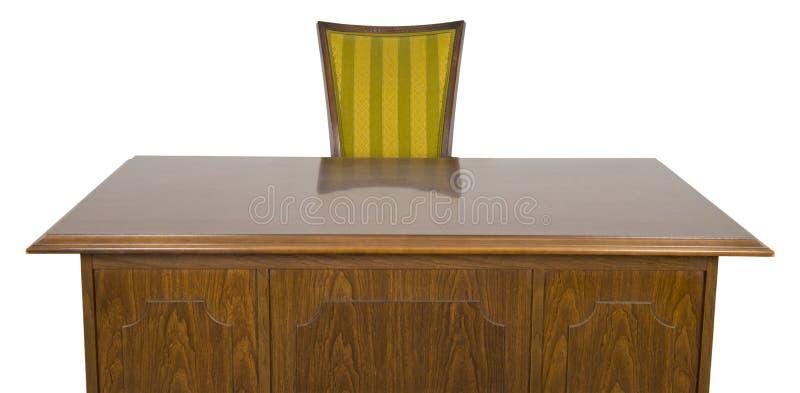 Geschäftslokal-Schreibtisch und Stuhl getrennt auf Weiß lizenzfreies stockfoto