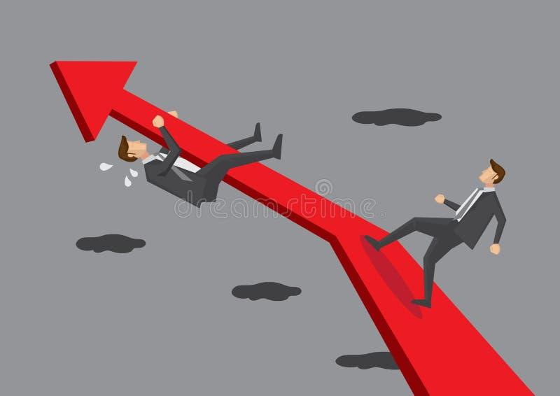 Geschäftsmänner auf Diagramm-Pfeil-Begriffsvektor-Illustration lizenzfreie abbildung