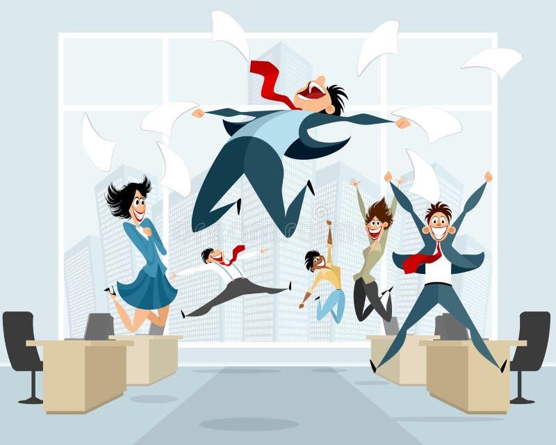 Geschäftsmänner beim Bürospringen stockfoto