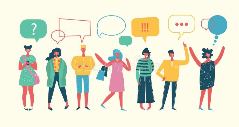 Geschäftsmänner besprechen Soziales Netz, Nachrichten, soziale Netzwerke stock abbildung