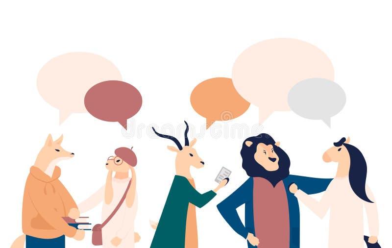 Geschäftsmänner besprechen Vektorillustration des Sozialen Netzes Nachrichten, soziale Netzwerke, Schwätzchen, Dialogspracheblase vektor abbildung
