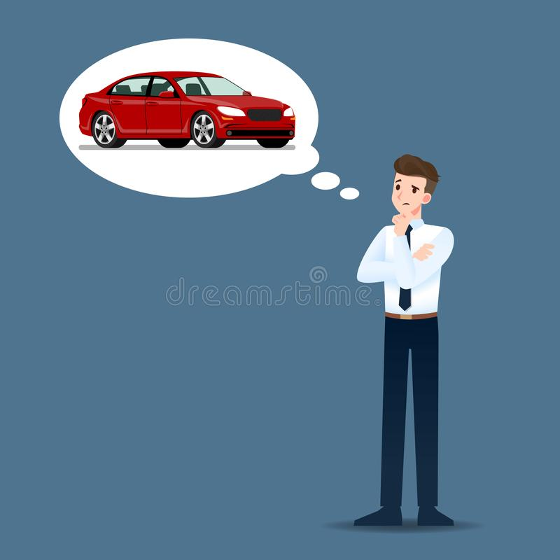 Geschäftsmänner denken und hoffen ernsthaft über das Kaufen von teuren Luxusautos lizenzfreie abbildung