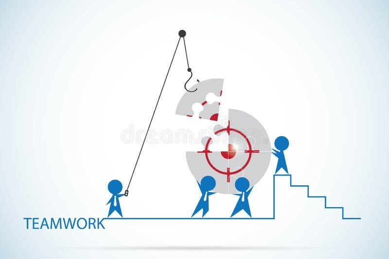 Geschäftsmänner, die das Zielsymbol auf Puzzle-, Teamwork- und Geschäftskonzept zusammenbauen lizenzfreie abbildung