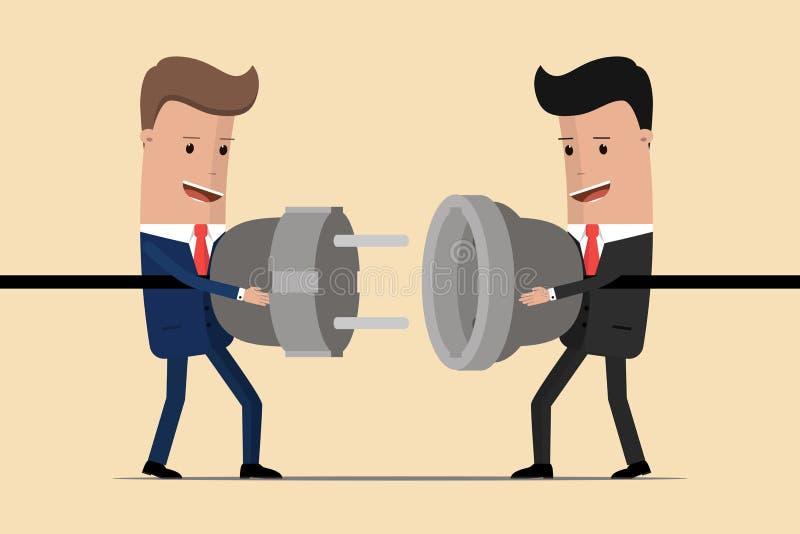 Geschäftsmänner, die Griffstecker und -ausgang in den Händen anschließen Zusammenarbeitsinteraktion teilhaberschaft Geschäftsverb vektor abbildung
