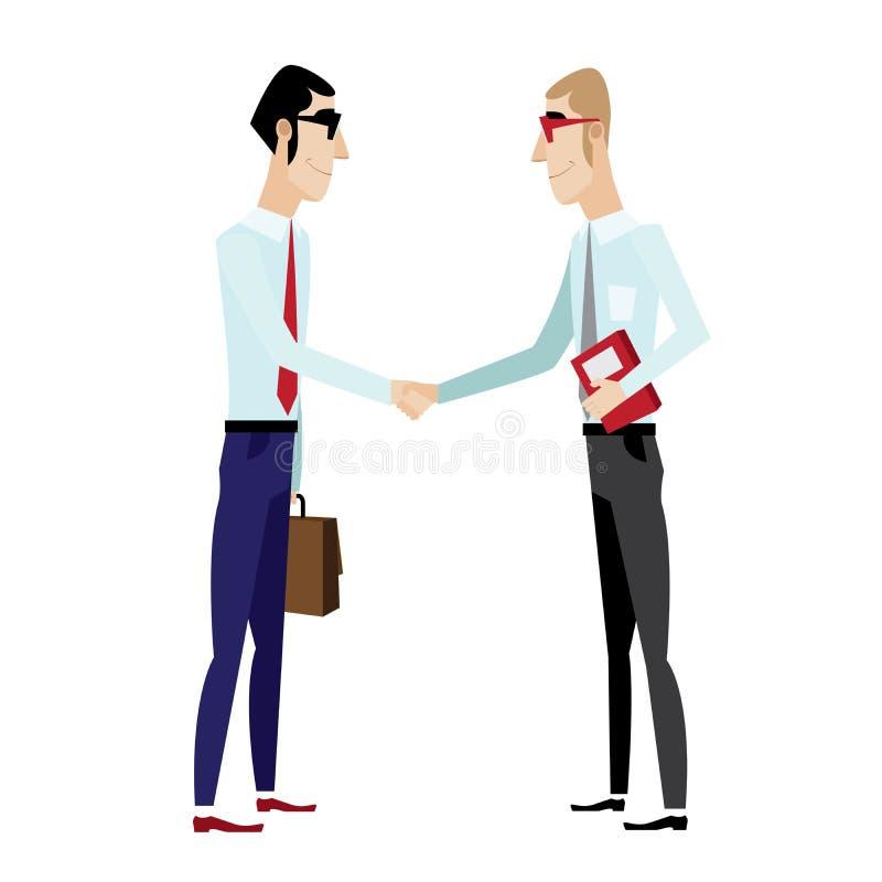 Geschäftsmänner, die Hände rütteln lizenzfreie abbildung