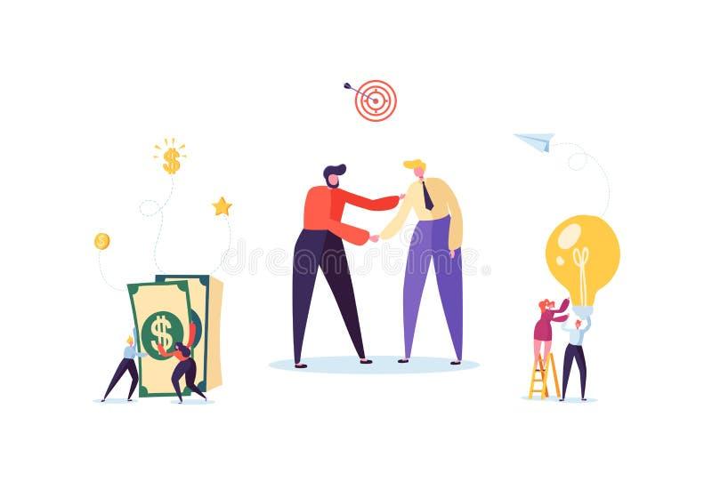 Geschäftsmänner, die Hände rütteln Partnerschafts-Abkommen-Händedruck, Vereinbarungs-Konzept treffend Charaktere auf Verhandlunge stock abbildung