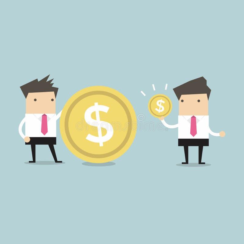Geschäftsmänner, die ihren Einkommensvektor vergleichen lizenzfreie abbildung